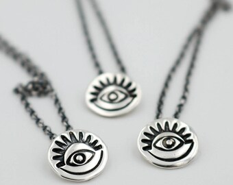 Third eye necklace - evil eye pendant - protective amulet - wiccan jewelry - sterling silver pendant - talisman jewelry - witch pendant