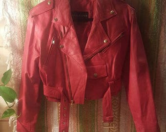 1980's Wilson's Red Leather Punk Biker Jacket