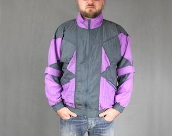 Mens Track Jacket, Vintage 90s Gray Purple Athletic Sportswear Bomber Blazer, Bold 1990s Zip Up Sports Tracksuit Windbreaker, Size Large L