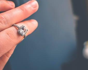 Vintage CZ Engagement Ring