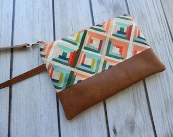 Geometric Wristlet, Wristlet Wallet, Phone Clutch, Smartphone Wallet