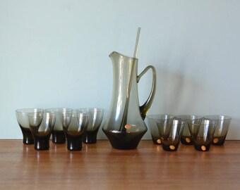 Vintage Polish glass Jug And Drinking Glasses mid century smokey grey / brown