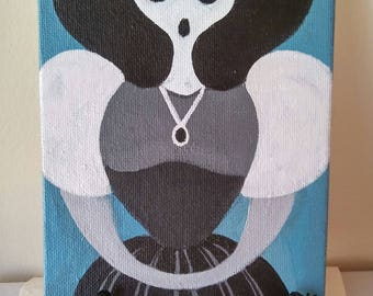 Halloween,  Ghost Lady, Original Painting, Acrylic, on Canvas Board, Haunted, Gothic, Lolita
