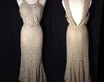 Incredible 1930s lace gown with belt and jacket  Size L to XL
