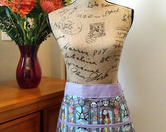 Sally & Jack Stained Glass Half Apron / Cotton / Short /  Nightmare Before Christmas