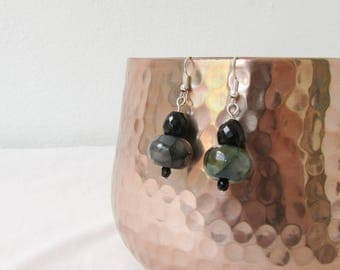 Peacock agate earrings, dark green, black gothic style earrings, semi precious gemstone, veined agate, chunky earrings, handmade in the UK