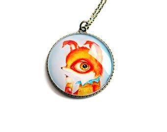 Pendant with print of Tiny Mr. Fox, art by Susann Brox Nilsen. Flower, lowbrow, surrealism, baby animal, ice cream, kids, colorful, big eyes
