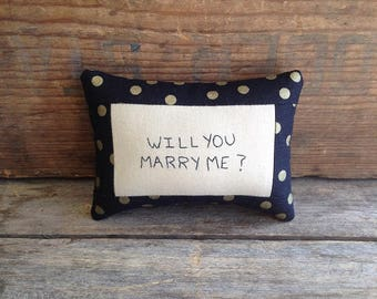 Will You Marry Me Pillow. Mini Pillow. Marriage Proposal. Marry Me Pillow. Hand-written. Hand-stitched. Handmade Pillow. Hand Embroidered.