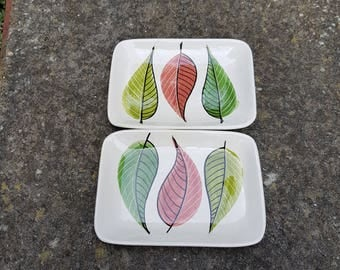 Italian hand painted mid century hors d'oeuvres dishes