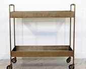 Art Deco Modern Brass Glass Mirror Leather Bar Cart Leather Wrapped Handles RESERVED FOR DOUG