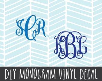 Monogram Vinyl Decal Qty 3 DIY for Yeti Tervis Rtic Mugs Etc 2136