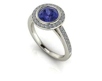 Halo Style Blue Sapphire Engagement Ring, White Gold and Diamonds, Unique Setting, Contemporary Engagement Ring, Ethical Diamonds