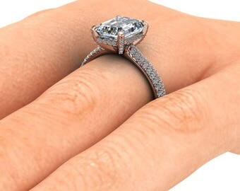 Emerald Cut Moissanite Engagement Ring, 9x7 Emerald Cut Forever One, 18k Rose Gold and Diamonds, Diamond Alternative, Ethical Diamonds