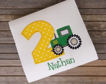 Embroidered Tractor Birthday Shirt, John Deere Shirt, Kids Birthday T-shirts, Birthday Outfit