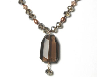 Smokey Quartz Faceted Pendant Irridescent Light Brown Czech Glass Freshwater Pearls Swarovski Crystal Earth Tones Statement Necklace DN318