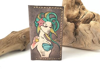 Mermaid minimalist leather wallet / Mens leather wallet / Womens leather wallet / Unique wallet / gift for him and her