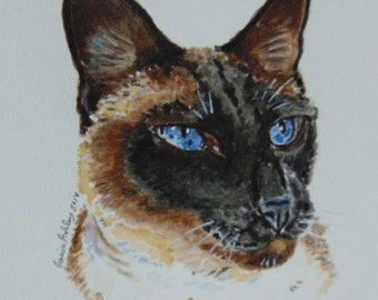 Custom Cat Portrait Watercolor Handpainted Cat Illustration-painting-gift- your own photos - Pet Memorial - Pet Loss - Dog Lover - New Year