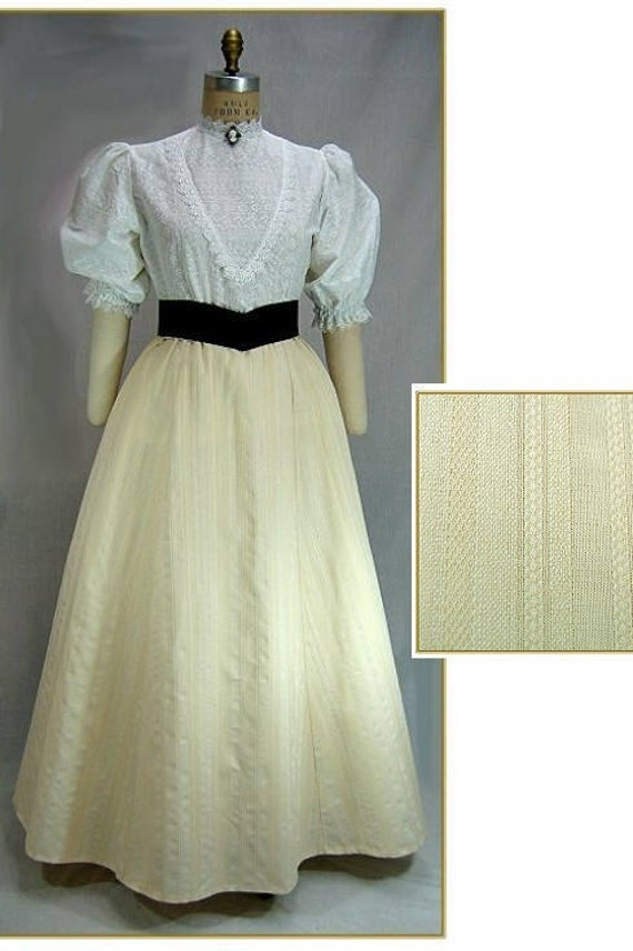 Victorian Skirts | Bustle, Walking, Edwardian Skirts Ivory Stripe Victorian SkirtIvory Stripe Victorian Skirt $59.00 AT vintagedancer.com