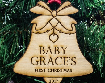 Baby's First Christmas Ornament - Baby ornament - Baby shower gift - Personalized Christmas Ornament - Premium Alder Wood // Sku#311