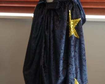 SMALL  Velvet WIZARD CLOAK - childrens dress up costume,  for ages 18 months to 3 years