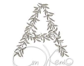 MACHINE EMBROIDERY DESIGN - Plant letter A