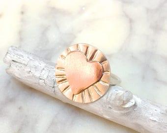 copper heart ring heart rings heart shaped rings love rings for women
