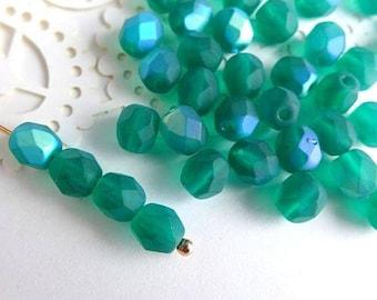 Czech Glass Beads Faceted 6mm - MATTE EMERALD AB- 50pcs