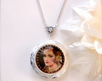 Art Deco Locket Necklace, Czech Glass Button Locket Necklace, Art Deco Style, Czech Glass, Vintage Style, Wedding Jewelry, Gift for Her