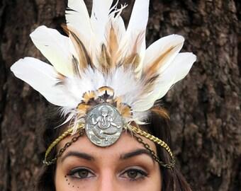 White feather headpiece, shaman feather headdress, tribal fusion headwear, bridal hair accessorie, burning man headdress, festival headpiece