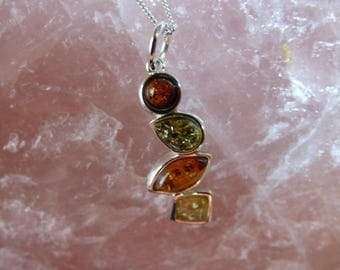 Natural Bultic Sterling Silver Amber Pendant.  Sterling Silver Chain. Baltin Amber Jellery
