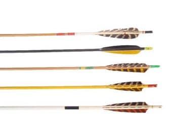 Colorful Vintage Wood Arrows. Retro Arrows. Decorative Arrows. 5 Wooden Archery Arrows. Painted Feather Arrows. Boho Decor