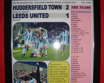 Huddersfield Town 2 Leeds United 1 - 2017 - souvenir print