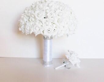 Mini Roses Wedding Bouquet Boutonniere Bridesmaid White Silk Roses Satin Ribbon Artificial Flowers Bridal Shiny Wedding Elegant
