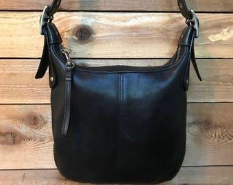 Coach Black Leather Slim Zip Purse Convertible Shoulder Crossbody Messenger Bag 6676