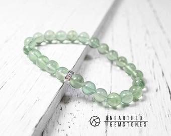 Electric Green Fluorite Bracelet - Gift Idea for Girlfriend, Neon Green Bracelet, Mint Green Jewelry, Gemstone Bracelet