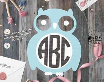 Owl Monogram svg, Owl svg, Monogram svg, Owl Cut File, Baby Monogram svg, eps, dxf, png Cut Files for Silhouette for Cricut