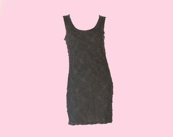 80's Vintage Beaded Little Black Mini Slip Dress