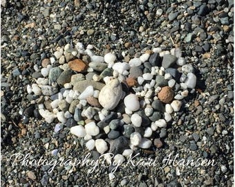 Black and White Fine Art Photography - Organic Zen Beach Seashore Rock Heart Wall Art Home Decor