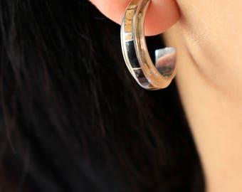 Sterling Half Hoops Earrings - Native Sterling Hoops - Boho hoops