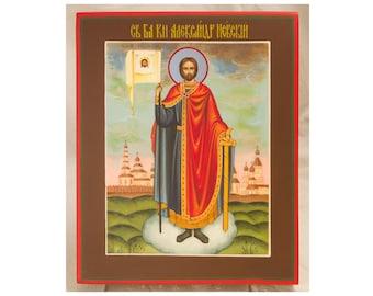 Russian Orthodox Handpainted Icon Saint Alexander, Byzantine Holy Icon, Religious Art Orthodox Gift, Christian Home Decor Christian Wall Art