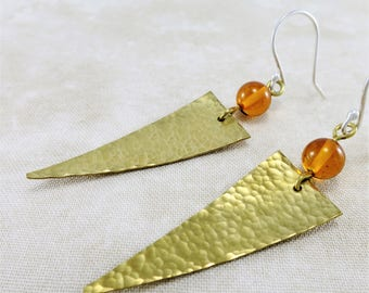 Amber Earrings ~ Brass Earrings ~ Gemstone Earrings ~ Gold Dangle Earrings ~ Geometric Earrings ~ Triangle Earrings ~ Lightweight Earrings