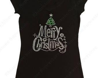 "Women's Rhinestone T-Shirt "" Merry Christmas Tree in Green "" in S, M, L, 1x, 2x, 3x"
