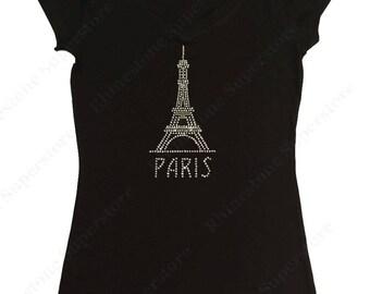 """Women's Rhinestone T-Shirt """" Paris Eiffel Tower """" in S, M, L, 1x, 2x, 3x"""