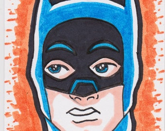 "Batman 66 Adam West artist trading card ACEO 2 1/2"" x 3 1/2"""