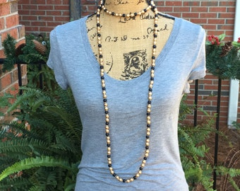 long beaded choker necklace 62 inch wood bead wrap necklace black & gold Game day beads bohemian chic boho necklace hippie necklace double