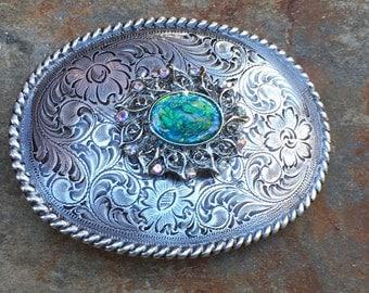 bohemian belt buckle silver aqua belt buckle Floral Engraved belt buckle embellished gypsy belt buckle women's belt buckle boho Belt Buckle