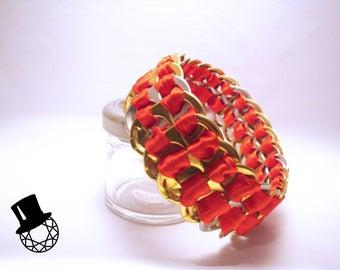 Bracelet Tongue Gold & Silver Ribbon Red