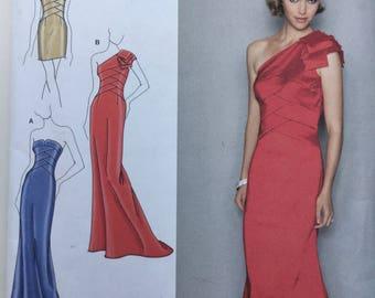 Simplicity  2253 Jessica McClintock Evening Dress One Shoulder / Off Shoulder Long Formal Gown Sewing Pattern Size 12- 20