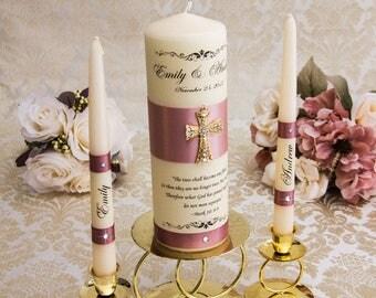 Wedding Unity Candle Set with Cross Personalized Unity Candles Set, Dusty Mauve Wedding Candles, Wedding Candle Set