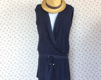 Blue vintage beach dress, original Chloe', summer dress, marine, nautica beachrobe
